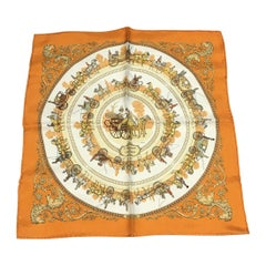 Hermes La Promenade de Longchamps Pocket Square Scarf 45 in Orange