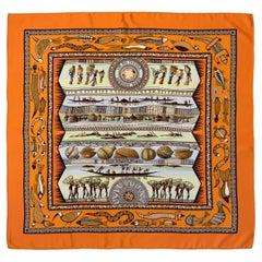 Hermès La vie du Fleuve Orange Silk Scarf