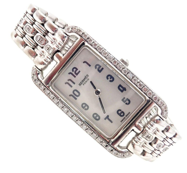 18k white gold diamond Cape Cod Nantucket watch by Hermes.  With 58 round brilliant cut diamonds VVS1 clarity, E color total weight approx. 1.16ct Details:  Style Number: Cape Cod Nantucket Reference Number:  NA1.292 Case Dimensions:  20mm x