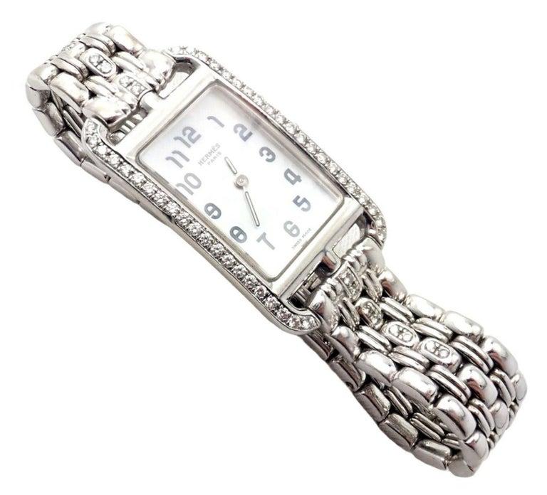 Brilliant Cut Hermès Ladies White Gold Diamond Cape Cod Nantucket Quartz Wristwatch For Sale