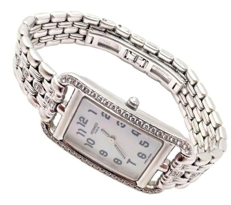 Hermès Ladies White Gold Diamond Cape Cod Nantucket Quartz Wristwatch In Excellent Condition For Sale In Holland, PA