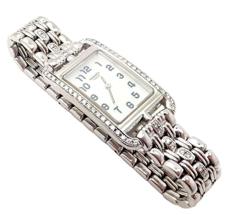 Hermès Ladies White Gold Diamond Cape Cod Nantucket Quartz Wristwatch For Sale 3
