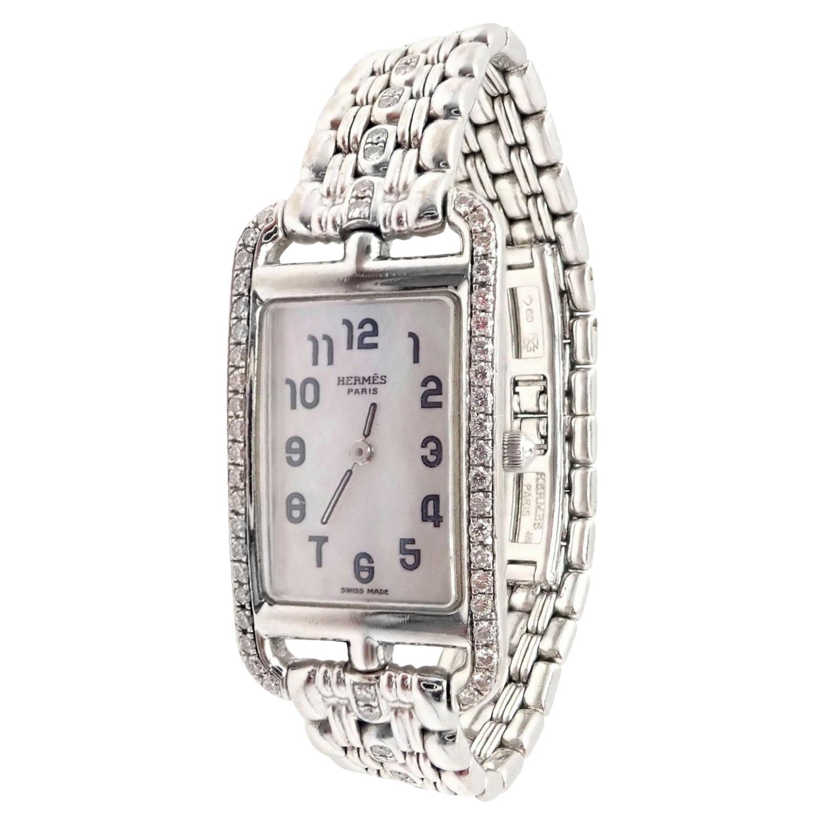 Hermès Ladies White Gold Diamond Cape Cod Nantucket Quartz Wristwatch