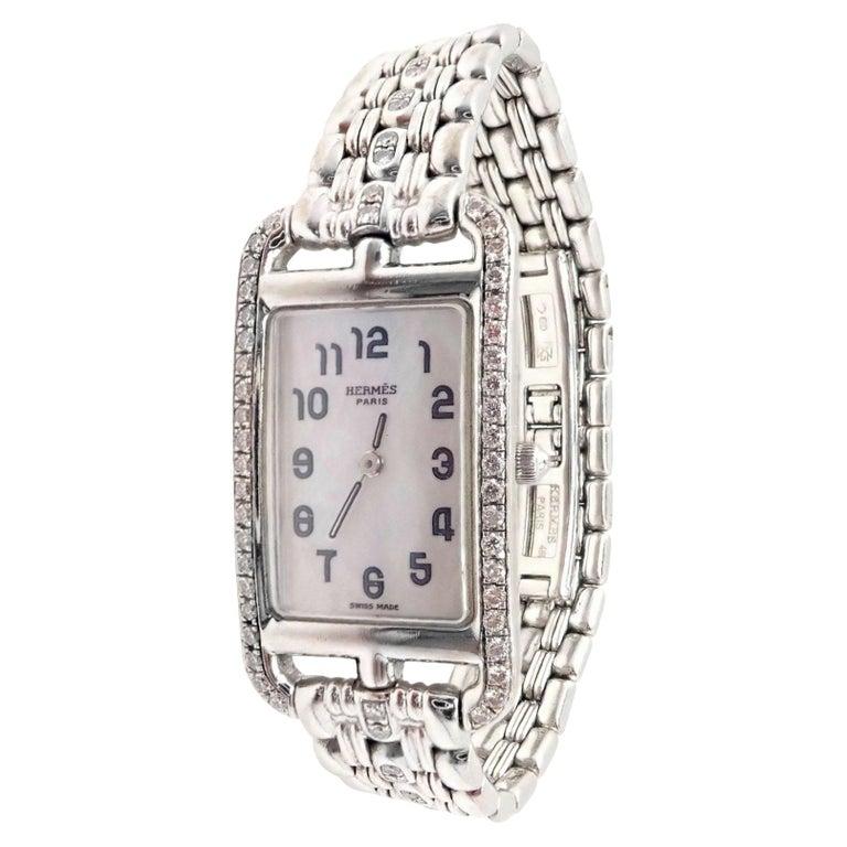 Hermès Ladies White Gold Diamond Cape Cod Nantucket Quartz Wristwatch For Sale