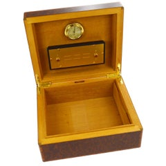 Hermes Laminate Wood Cigar Cigarette Humidor 'H' Logo Men's Storage Box Case