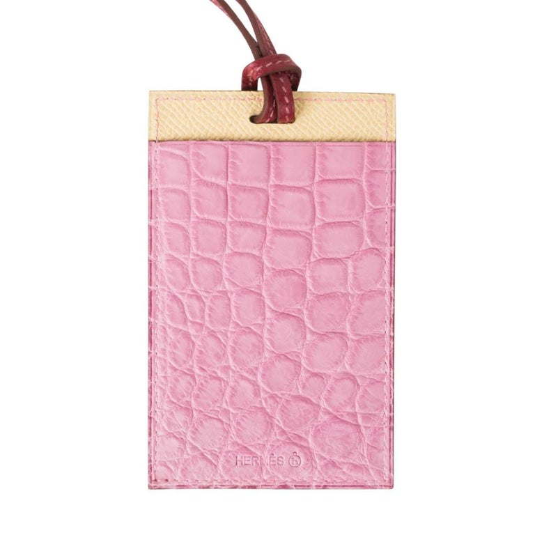 Women's or Men's Hermes Lanyard Card Holder 5P Pink Porosus Crocodile / Jaune Epsom