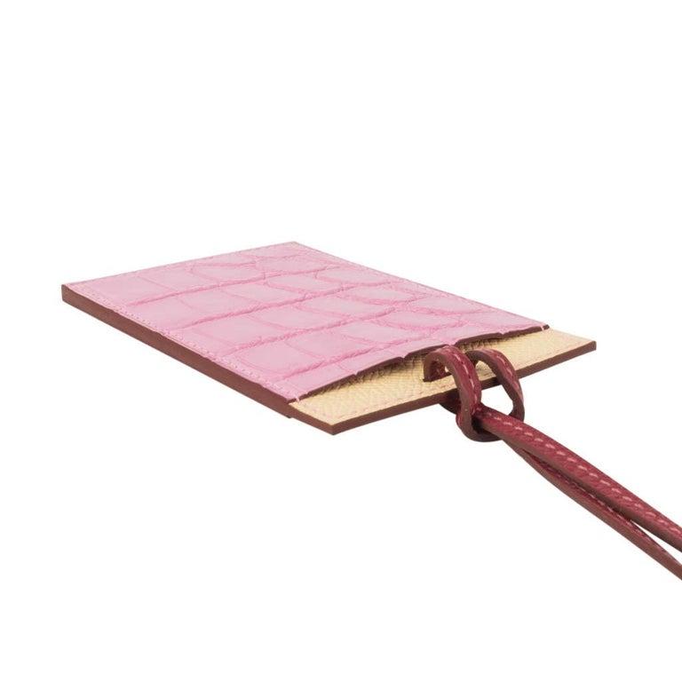 Hermes Lanyard Card Holder 5P Pink Porosus Crocodile / Jaune Epsom 2