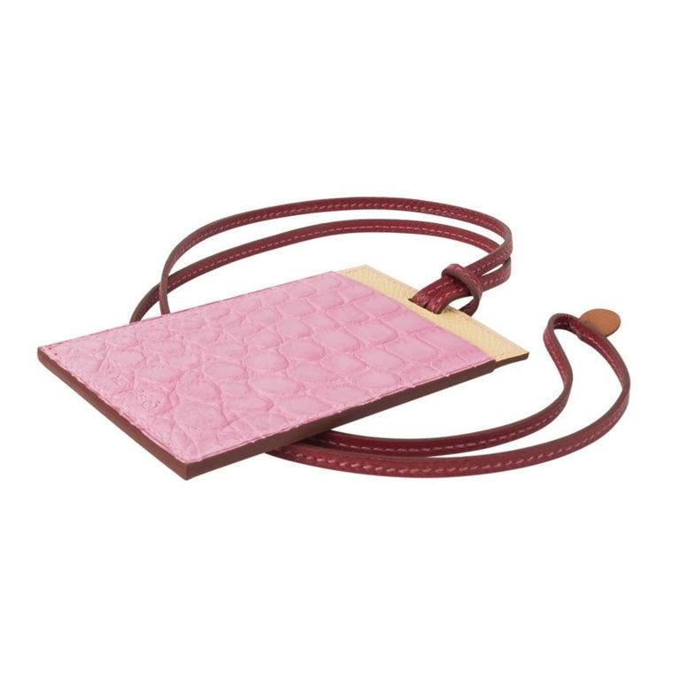 Hermes Lanyard Card Holder 5P Pink Porosus Crocodile / Jaune Epsom 3