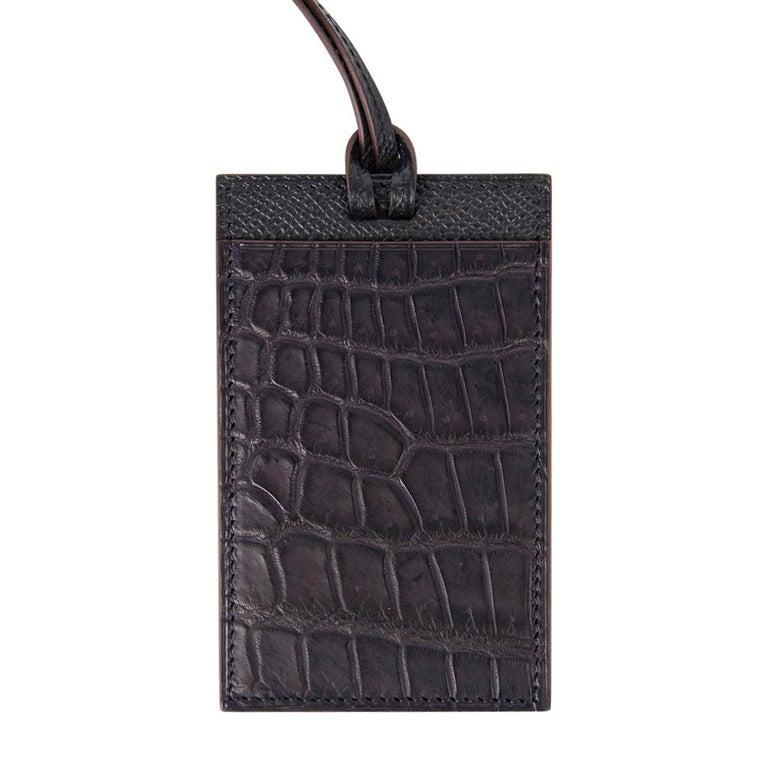 Black Hermes Lanyard Card Holder Prunoir Matte Crocodile / Gris Epsom Bi-Color Petit h