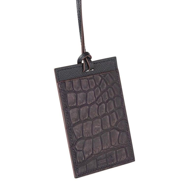 Hermes Lanyard Card Holder Prunoir Matte Crocodile / Gris Epsom Bi-Color Petit h 2