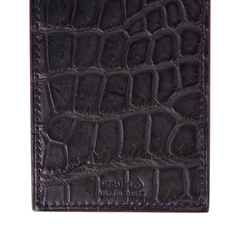Hermes Lanyard Card Holder Prunoir Matte Crocodile / Gris Epsom Bi-Color Petit h 3