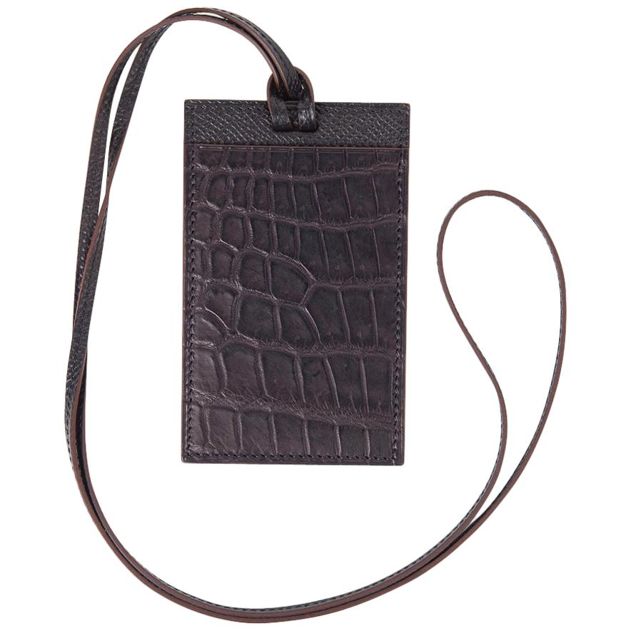 Hermes Lanyard Card Holder Violet Matte Crocodile / Bleu Vert Epsom Bi-Color