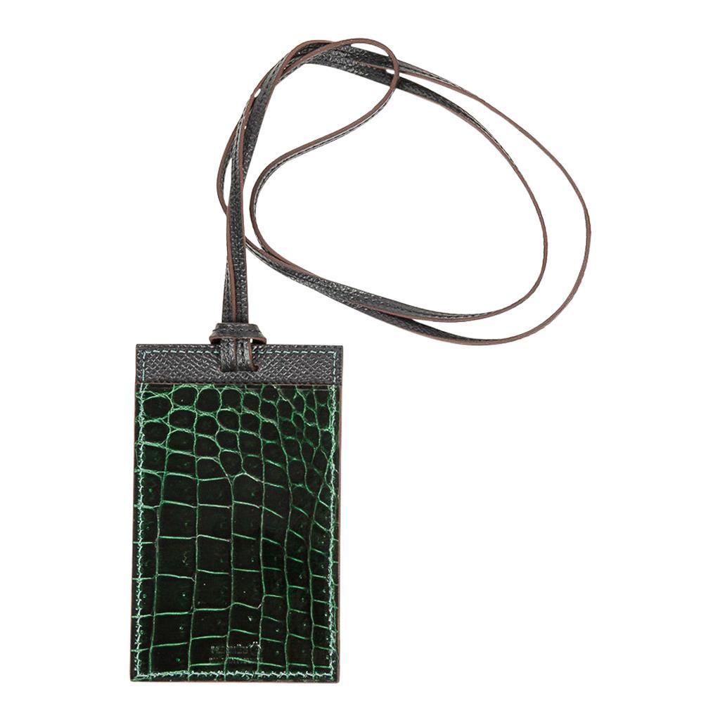 Hermes Lanyard Card Holder Vert Fonce Porosus Crocodile/ Black Epsom Bi-Color