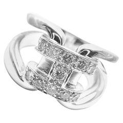 Hermes Large Diamond H White Gold Band Ring
