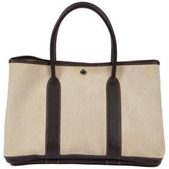 Hermes Large Garden Party Brown Toile Bag