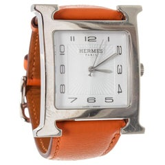 Hermes Large Heure H Stainless Steel Watch