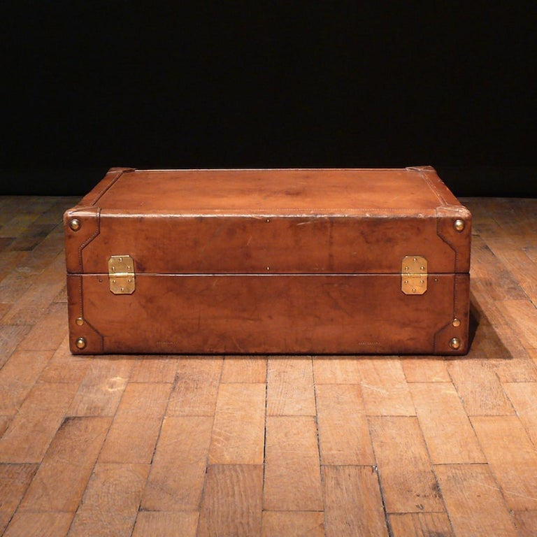 French Hermès Large Leather Suitcase, circa 1955 For Sale
