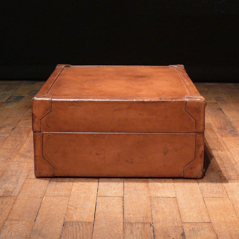 Mid-20th Century Hermès Large Leather Suitcase, circa 1955 For Sale