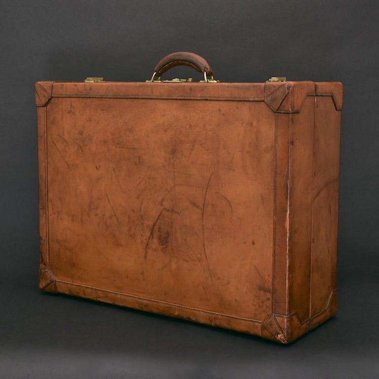 Wood Hermès Large Leather Suitcase, circa 1955 For Sale