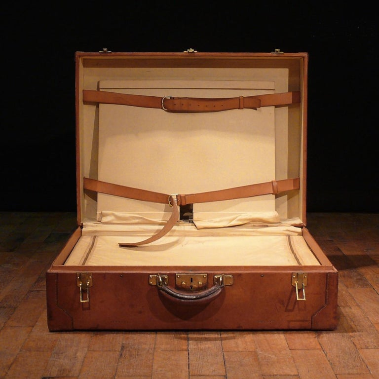 Hermès Large Leather Suitcase, circa 1955 For Sale 1