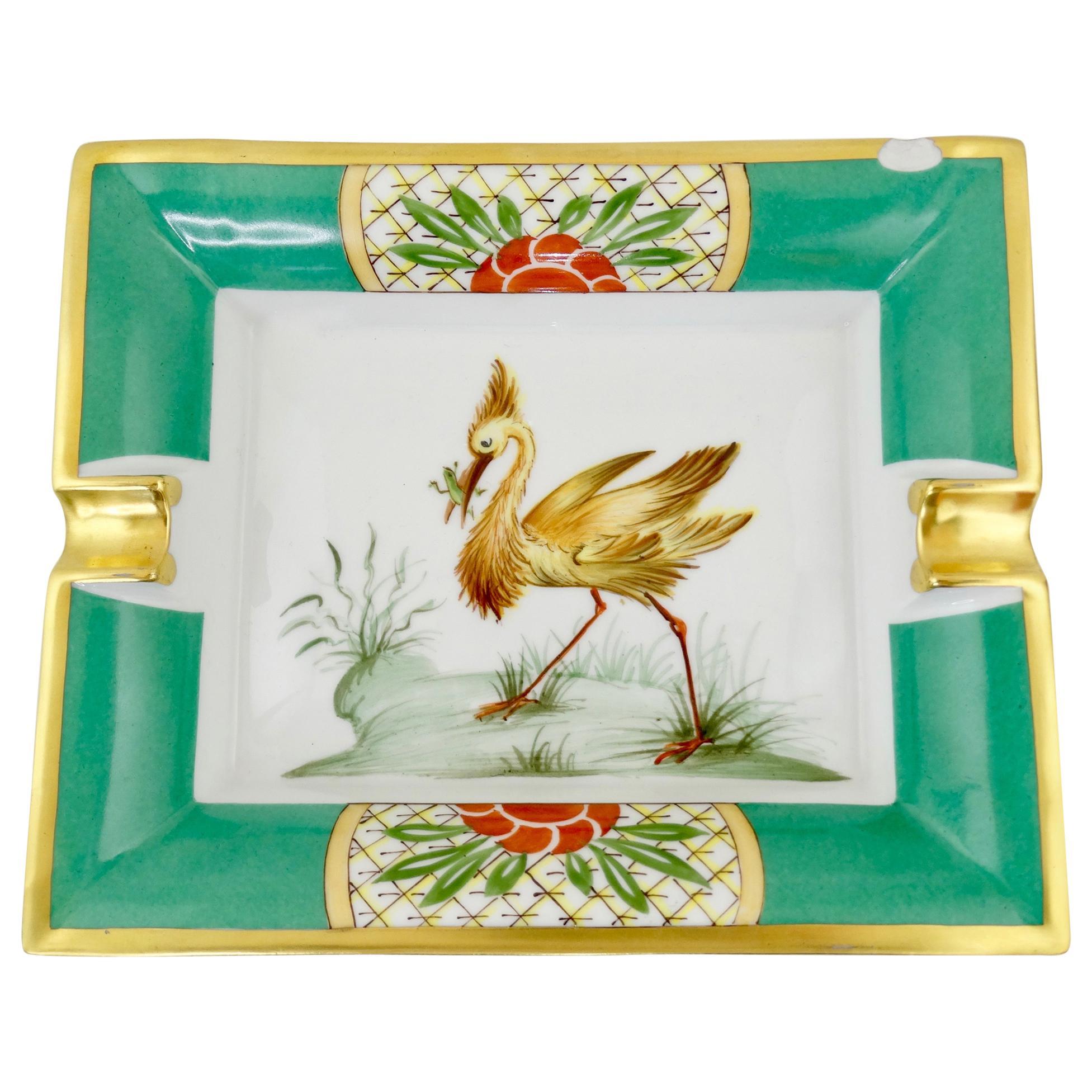 Hermés Late 20th Century Exotic Bird Porcelain Tray