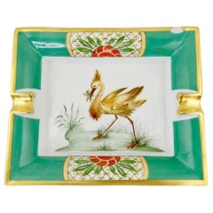 Hermés Late 20th Century Exotic Bird Porcelain Tray