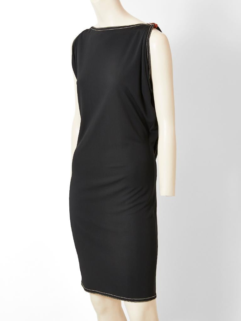 Hermes, black, fitted,  matte jersey  dress, having draped, short sleeves with white top stitching detail at the neck, sleeves, back and hem. The back has an inset, draped, panel exposing a leather harness with buckle detail.