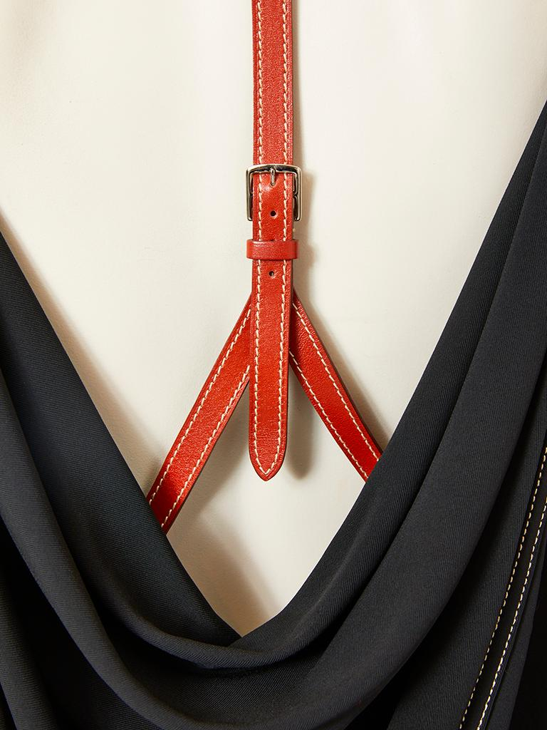 Women's Hermes LBD with Leather Harness Detail For Sale