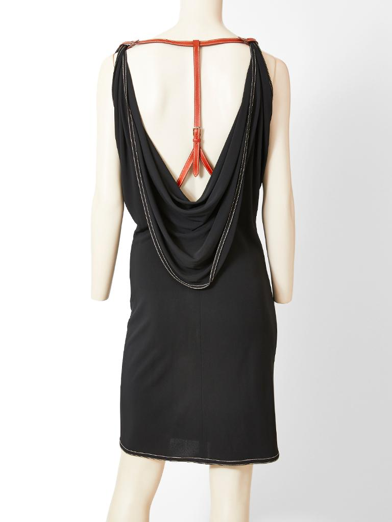 Hermes LBD with Leather Harness Detail For Sale 1