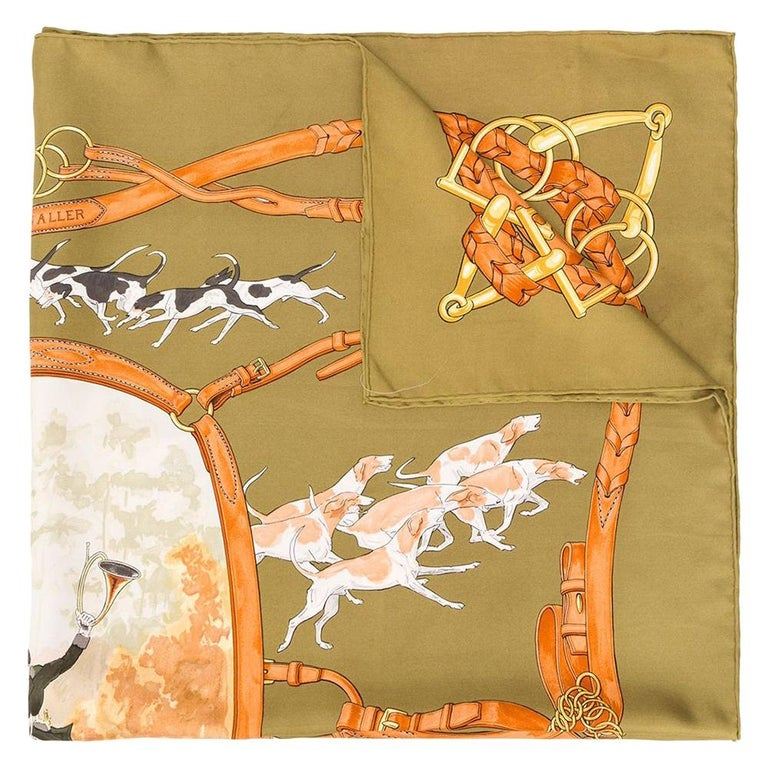 Hermès 'Le Bien Aller' Fox Hunt Print Scarf For Sale