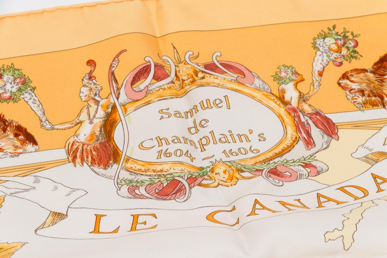 Hermès Le Canada Collectible Silk Scarf In Excellent Condition For Sale In West Hollywood, CA