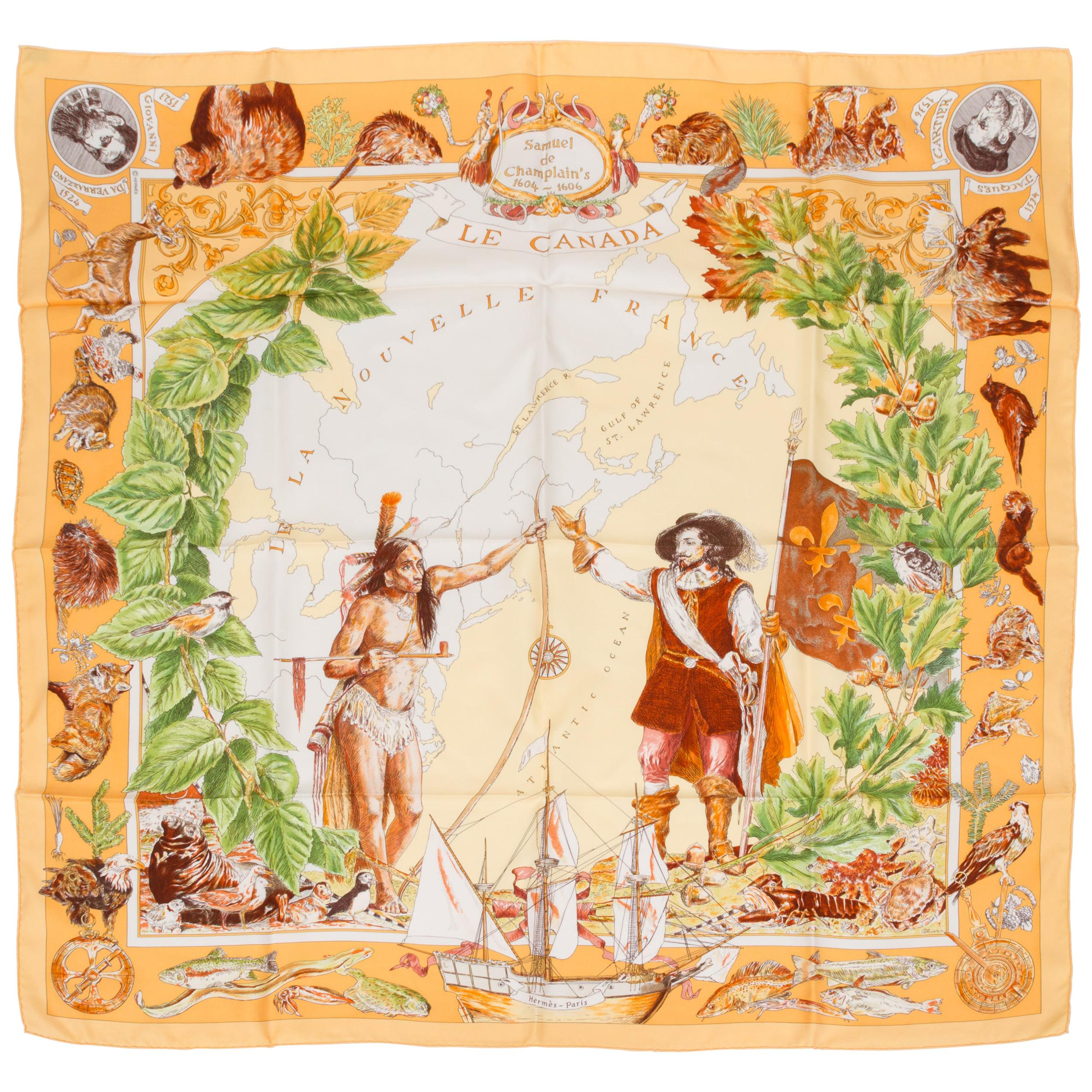 Hermès Le Canada Collectible Silk Scarf
