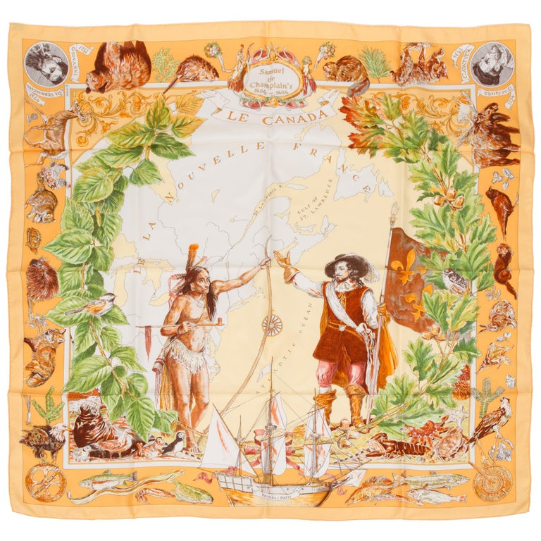 Hermès Le Canada Collectible Silk Scarf For Sale
