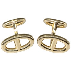 Hermes Le Havre 18 Karat Gold Ellipse Shaped Cufflinks