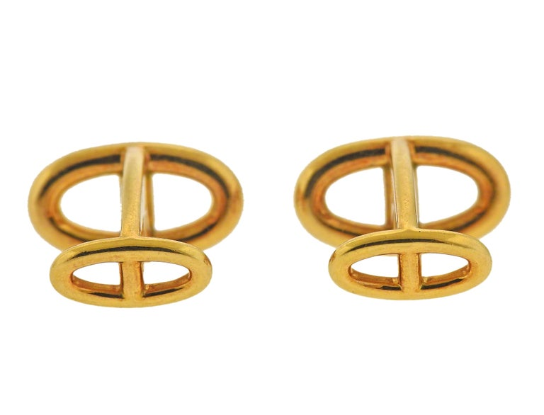 Men's Hermès Le Havre Gold Cufflinks For Sale