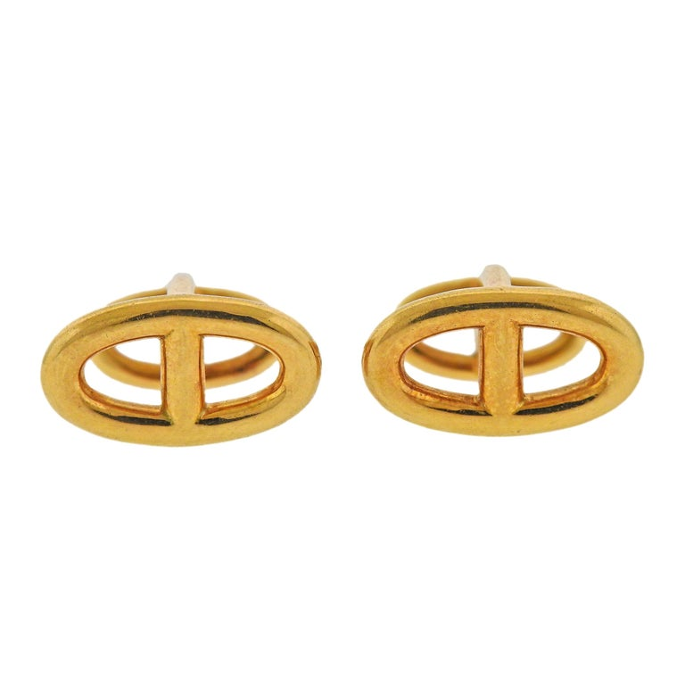 Hermès Le Havre Gold Cufflinks For Sale