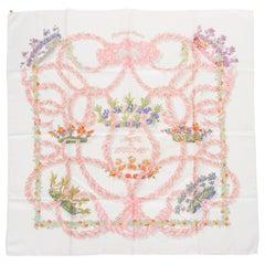"""Hermès """"Le Sacre""""Pink & White Silk Scarf"""