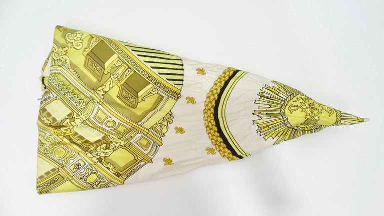 Elevate all your looks with this amazing Hermés turban! Circa late 20th century, this scarf turned into a turban features a motif designed by Pierre Péron in 1963. Translating to the 'Royal Sun', this scarf at large depicts a ship with a border of