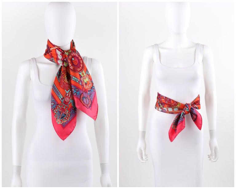 HERMES Le Songe de La Licorne 2015 Pink Orange Geometric Belt Floral Motif Scarf In Good Condition For Sale In Thiensville, WI