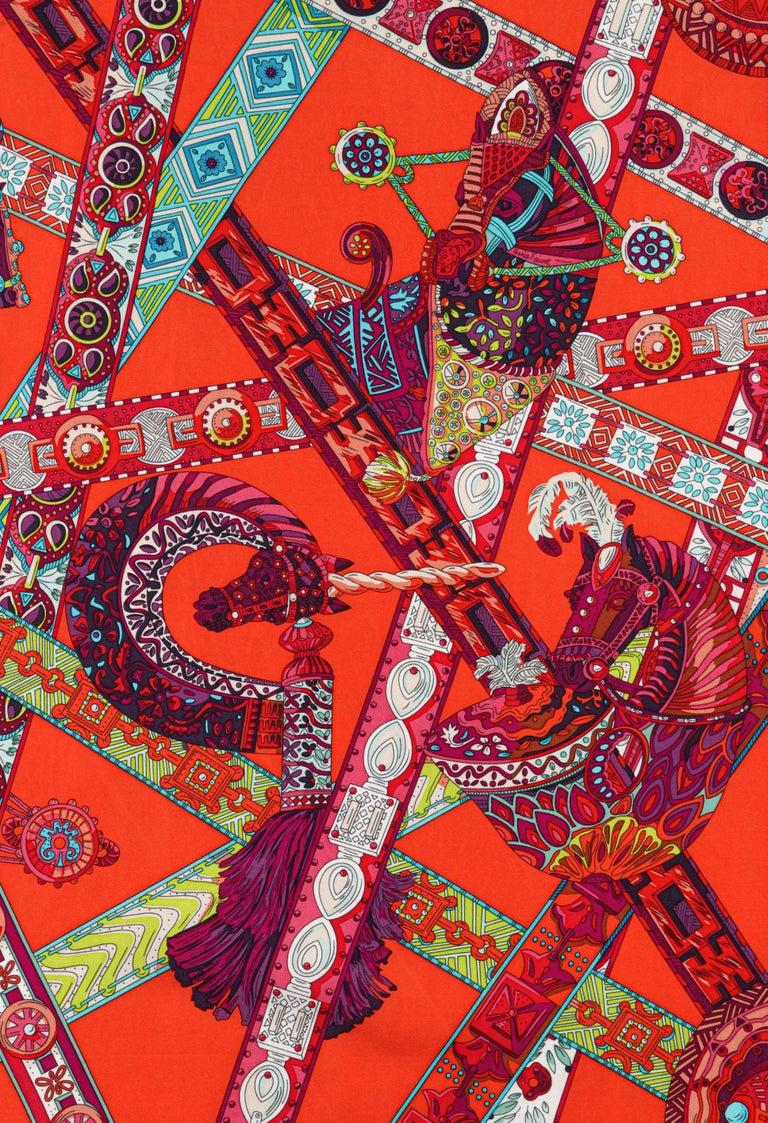 Women's HERMES Le Songe de La Licorne 2015 Pink Orange Geometric Belt Floral Motif Scarf For Sale