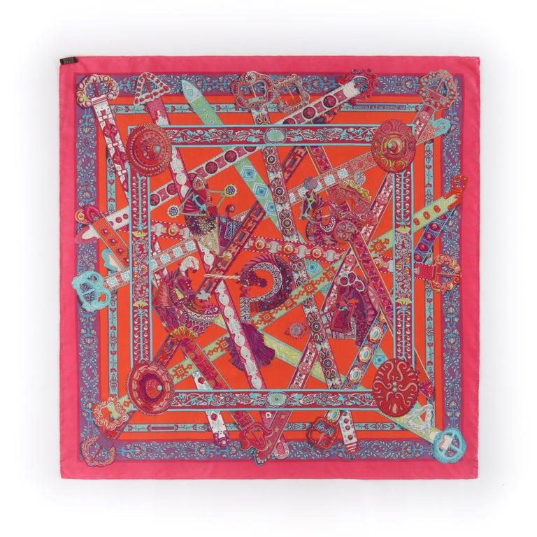 HERMES Le Songe de La Licorne 2015 Pink Orange Geometric Belt Floral Motif Scarf For Sale 1