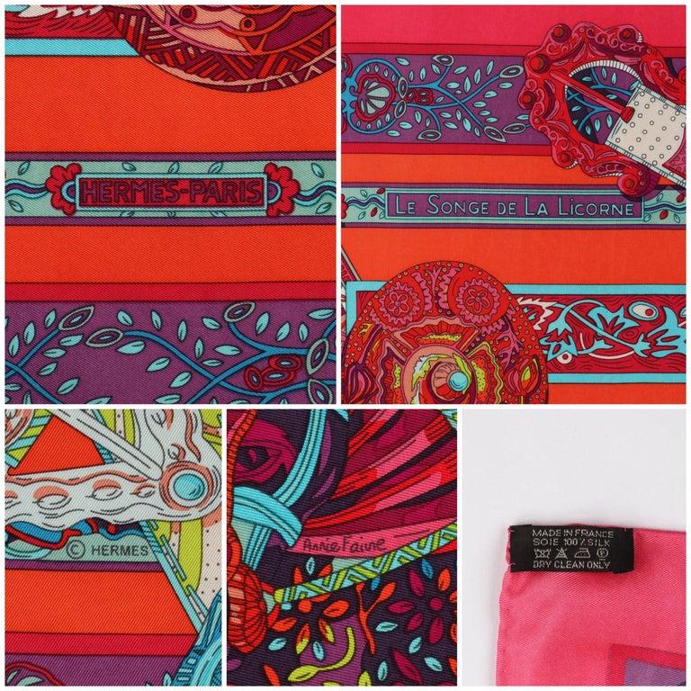 HERMES Le Songe de La Licorne 2015 Pink Orange Geometric Belt Floral Motif Scarf For Sale 2