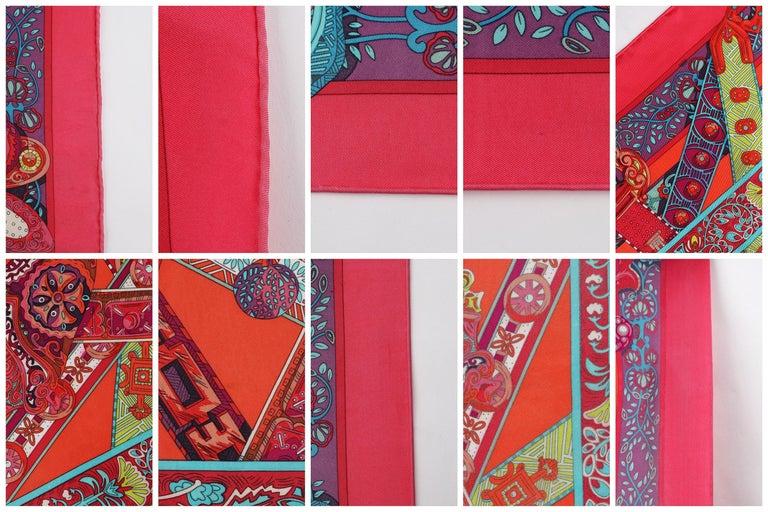 HERMES Le Songe de La Licorne 2015 Pink Orange Geometric Belt Floral Motif Scarf For Sale 3