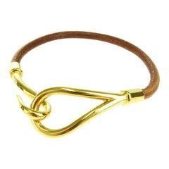 Hermes Leather and Gold Jumbo Hook Bracelet