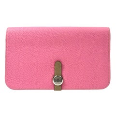 Hermes Leather Baby Pink Tan Taupe Evening Envelope Clutch Wallet in Box