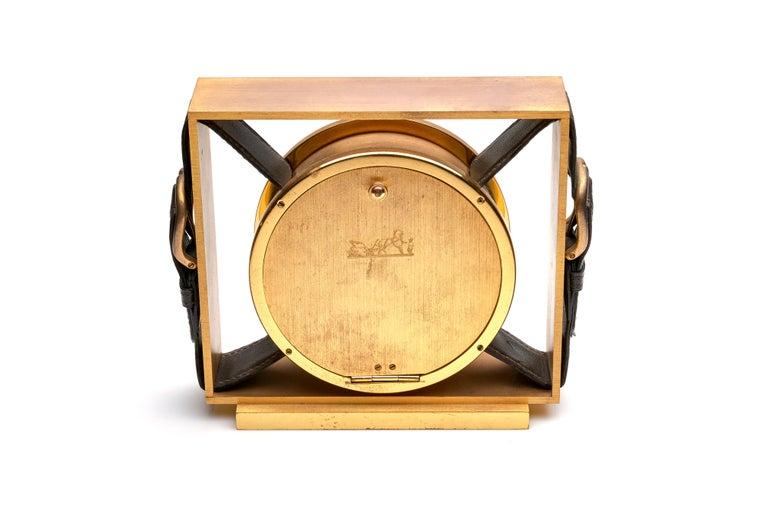 Modern Hermes Leather Belt Buckle Clock For Sale