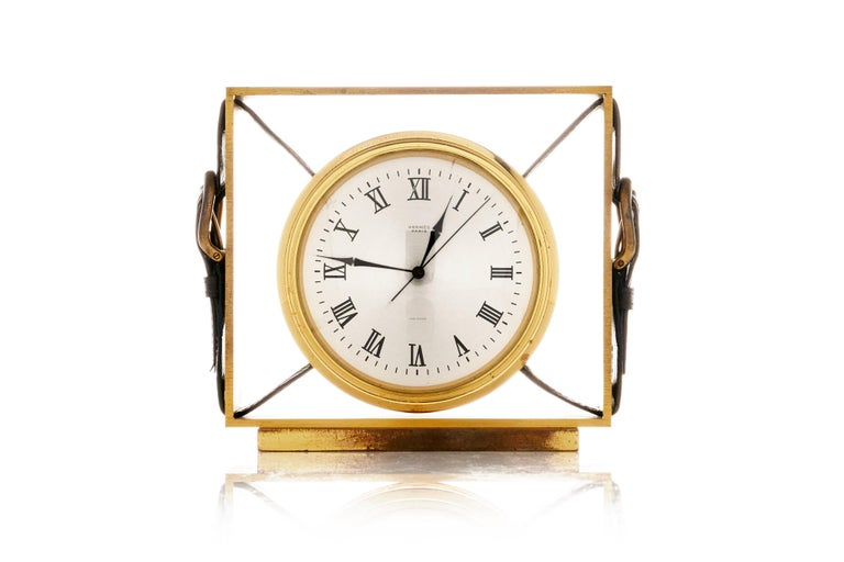 Hermes Leather Belt Buckle Clock In Excellent Condition For Sale In New York, NY