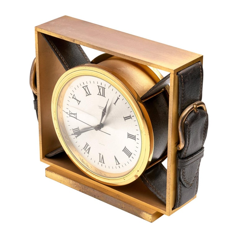Hermes Leather Belt Buckle Clock For Sale
