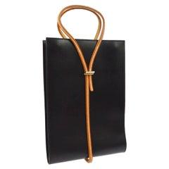 Hermes Leather Black Cognac Flat Evening Top Handle Satchel Tote Bag