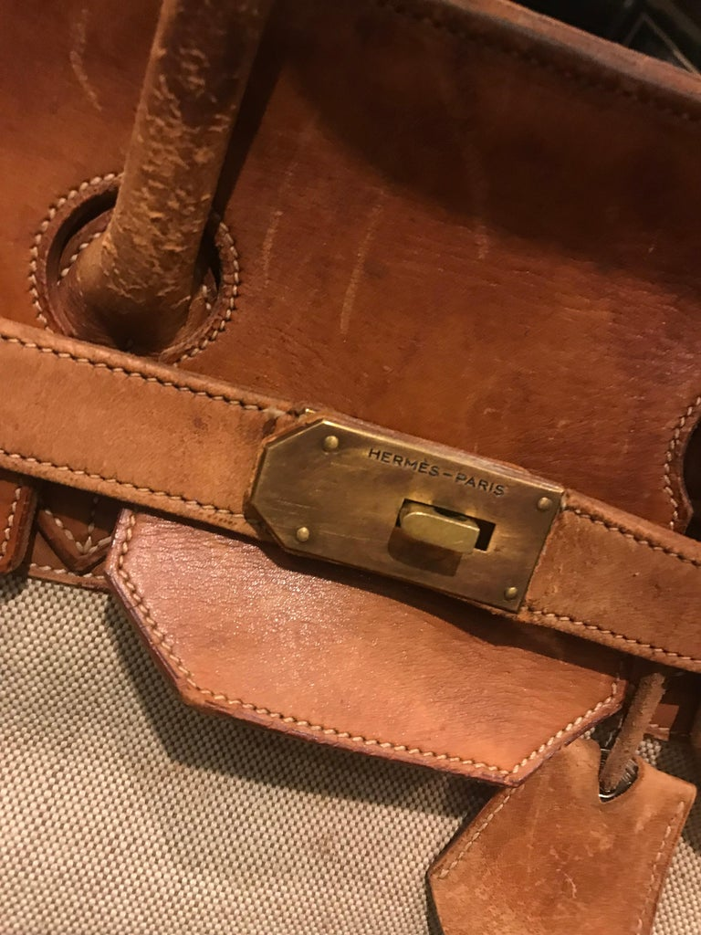 Modern Hermes Leather and Canvas HAC Travel Bag For Sale